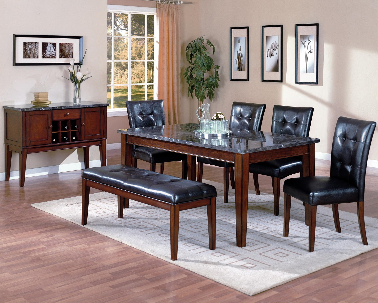 this six piece dining set includes a table with a rectangular marble ...