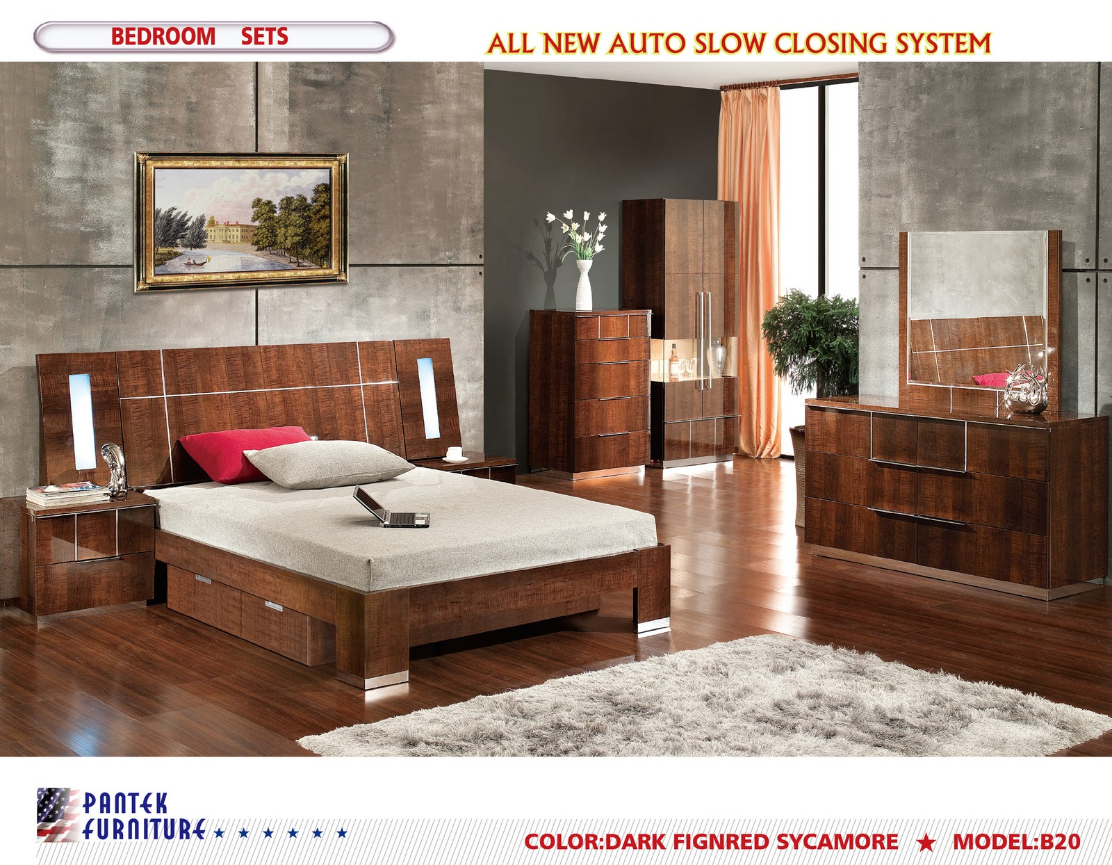 Pantek furniture b20 modern bedroom set royal for Furniture outlet