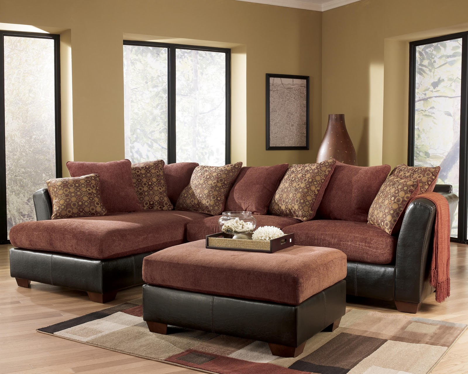 Ashley furniture larson 31400 cinnamon sofa sectional for Family room with sectional sofa