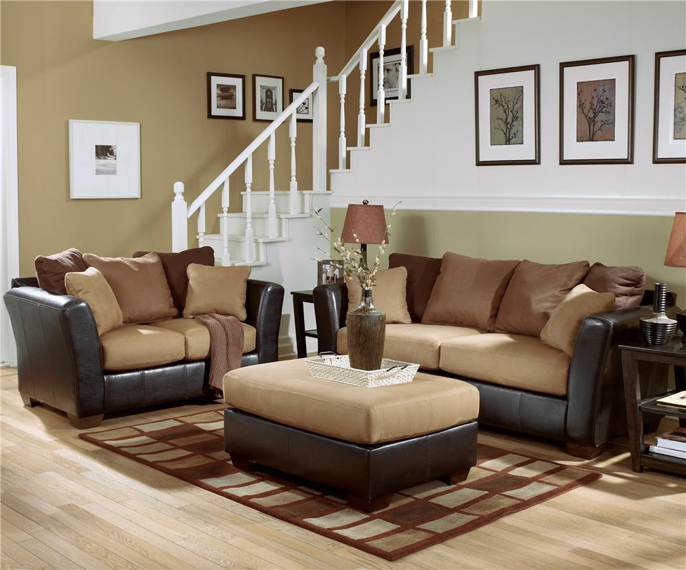 Ashley furniture signature design lawson saddle living for Family room furniture