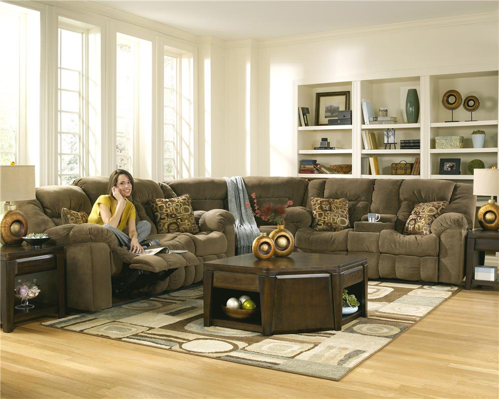Ashley signature design macie 54601 brown reclining - Pictures of living rooms with sectionals ...