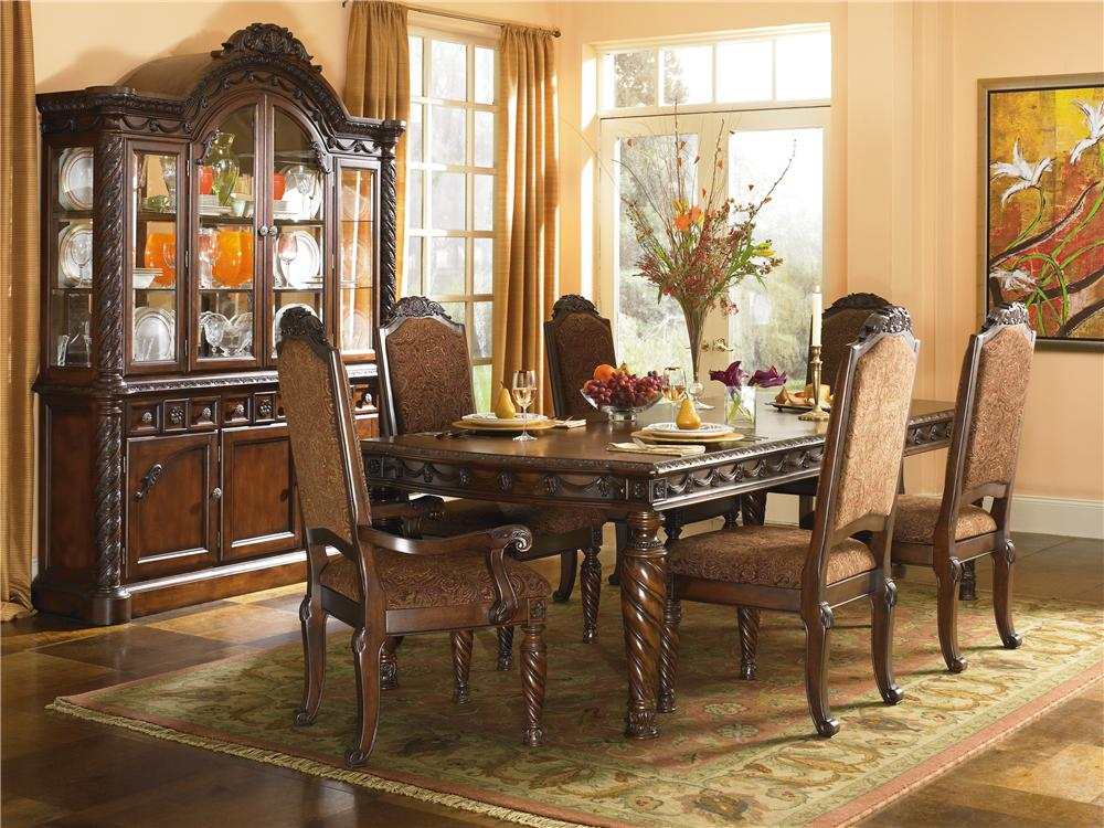 Ashley millennium north shore dining room set d553 for Dining room dresser